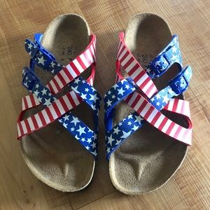 Birkis by Birkenstock American Flag Print Sandals